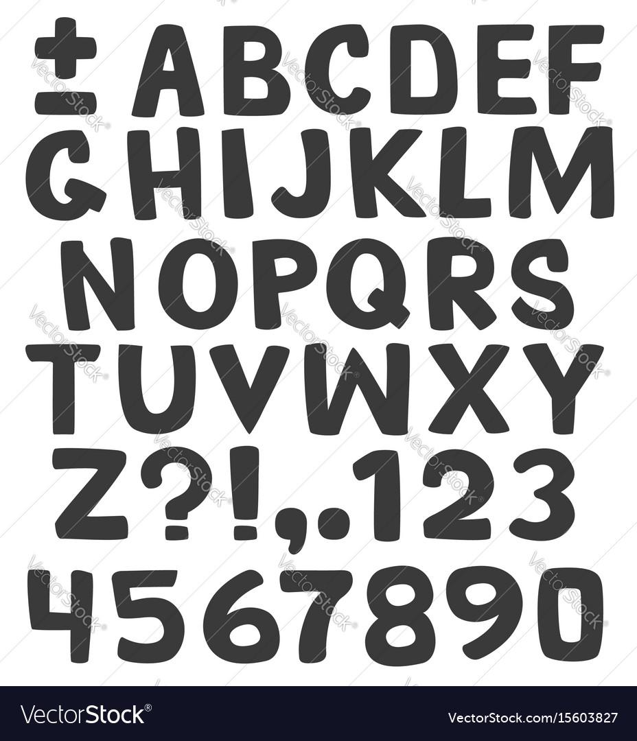 Black alphabet on white background vector image