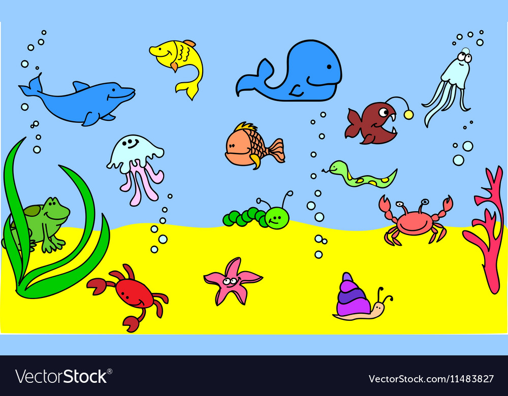 Cute Under the Sea Icon Set vector image