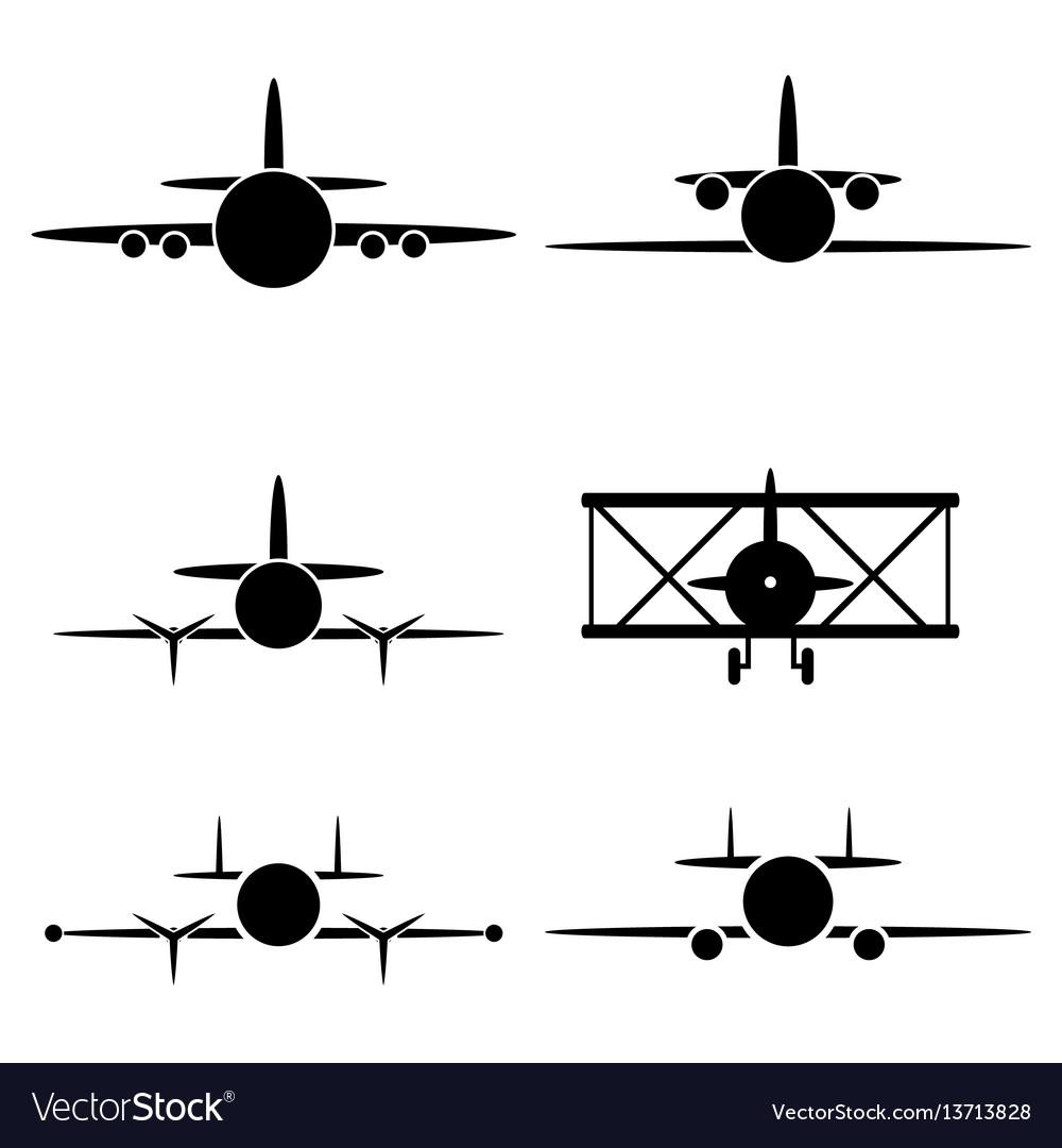 Black airplane icon set vector image