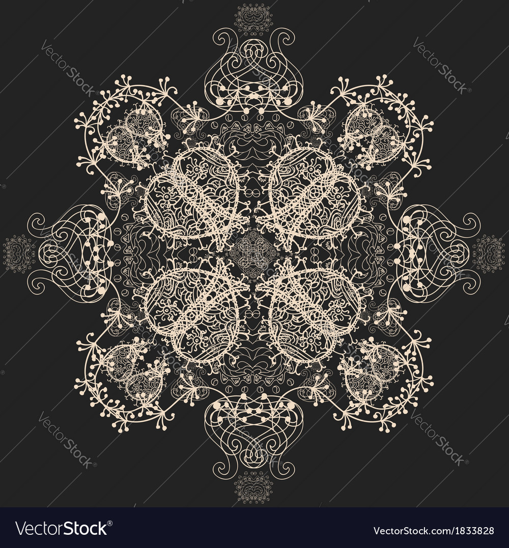 Blue Floral Seamless Pattern on Gray vector image