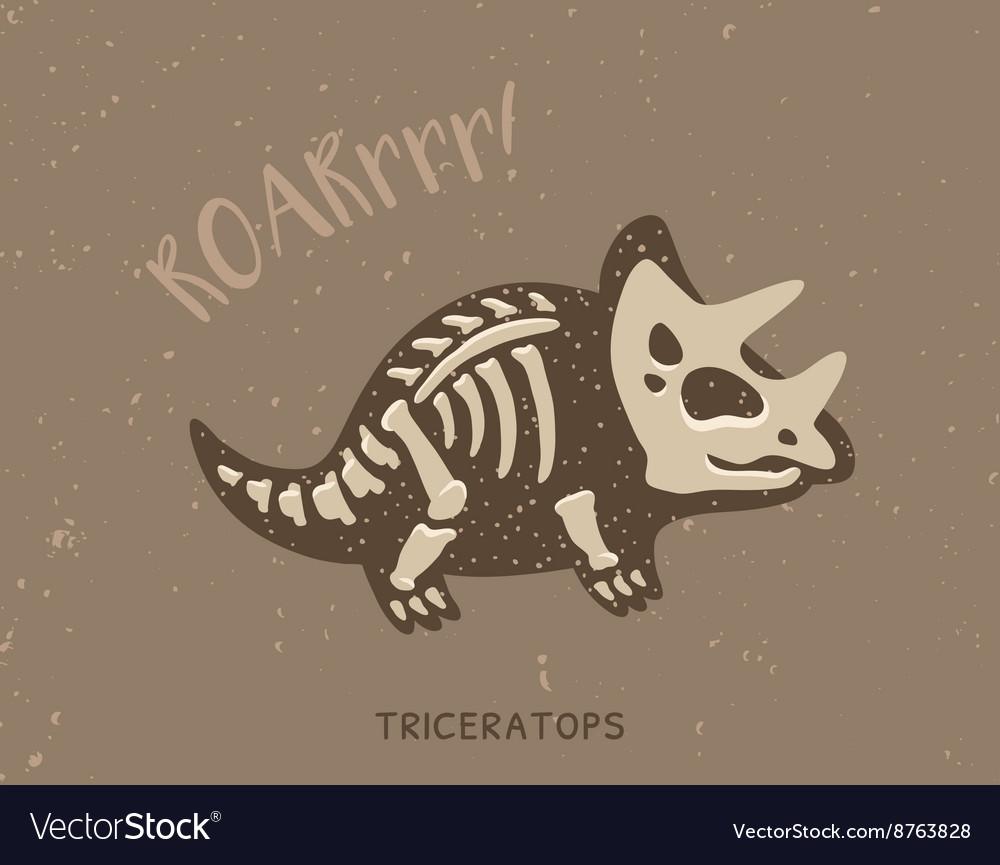 Cartoon triceratops dinosaur fossil vector image