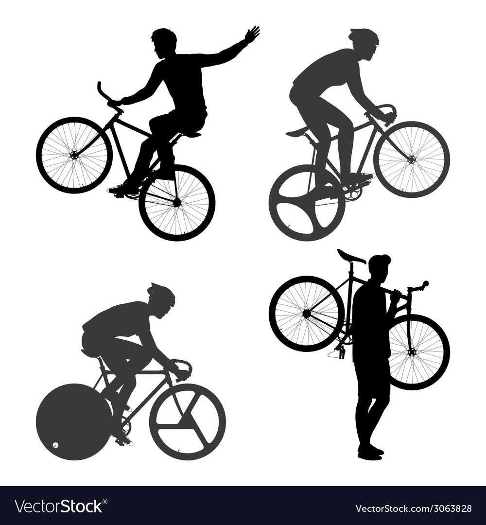 Cyclists Man And Fixed Gear Bicycle Royalty Free Vector