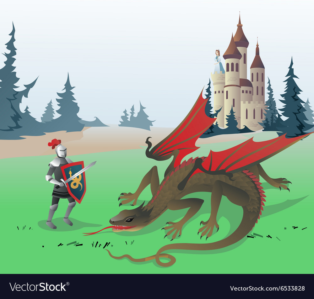Knight fighting Dragon vector image