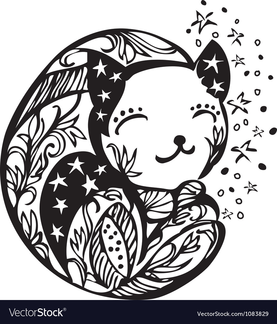 Ornate sleeping kitten silhouette vector image