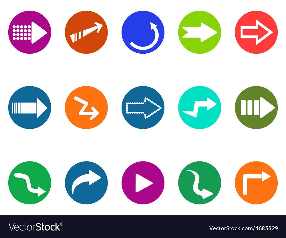 Arrow sign circle button icons set vector image