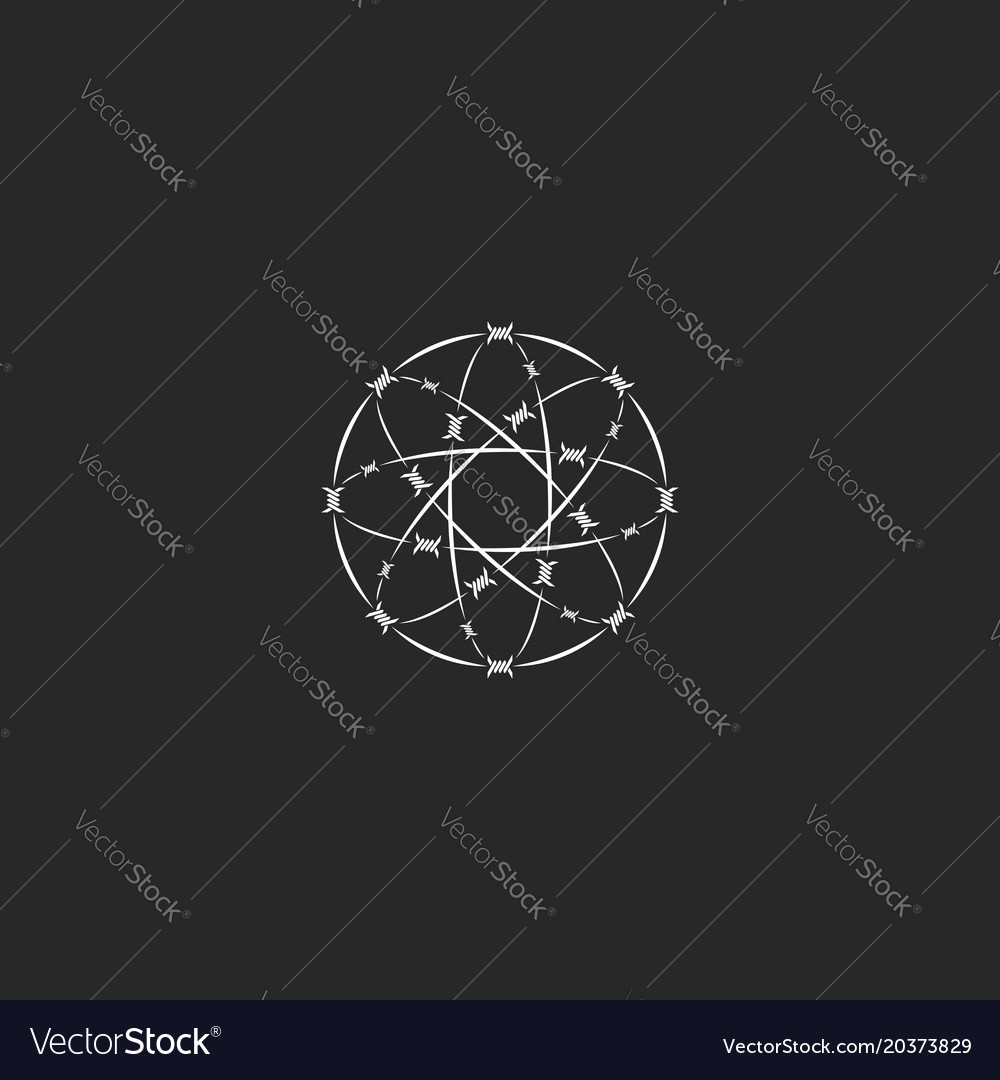 Barbed wire logo sacred geometric circle shape vector image