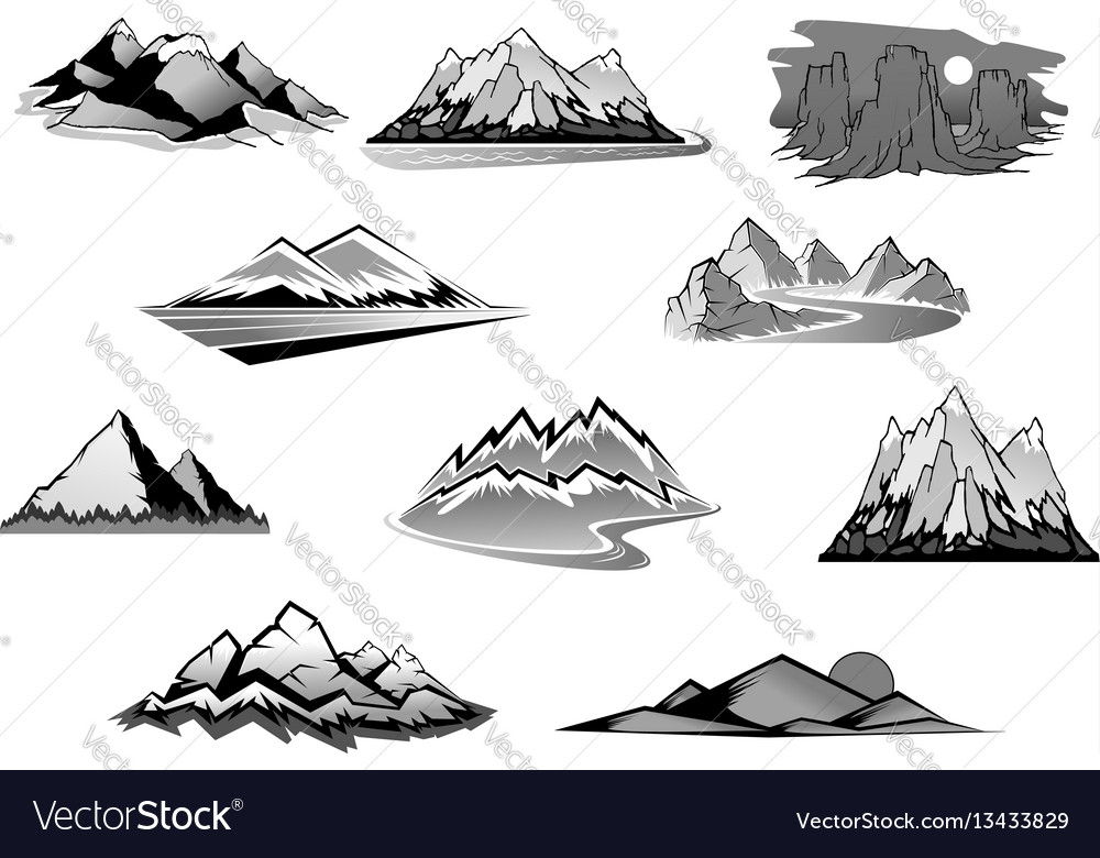 Mountain landscape isolated icon set vector image