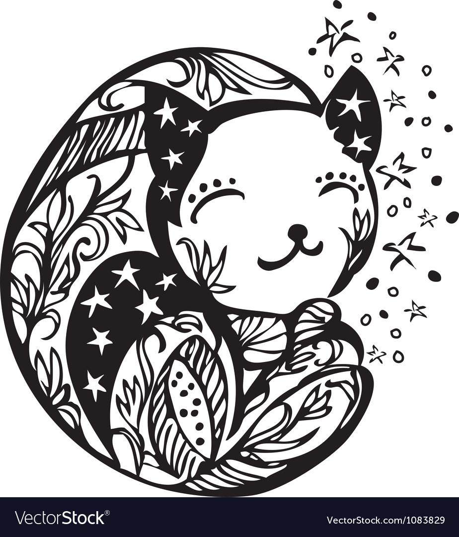 Ornate sleeping kitten silhouette vector image
