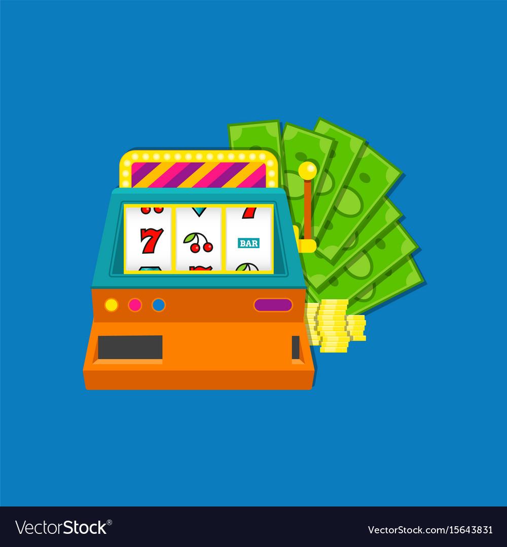 Slot machine flat with bundle vector image