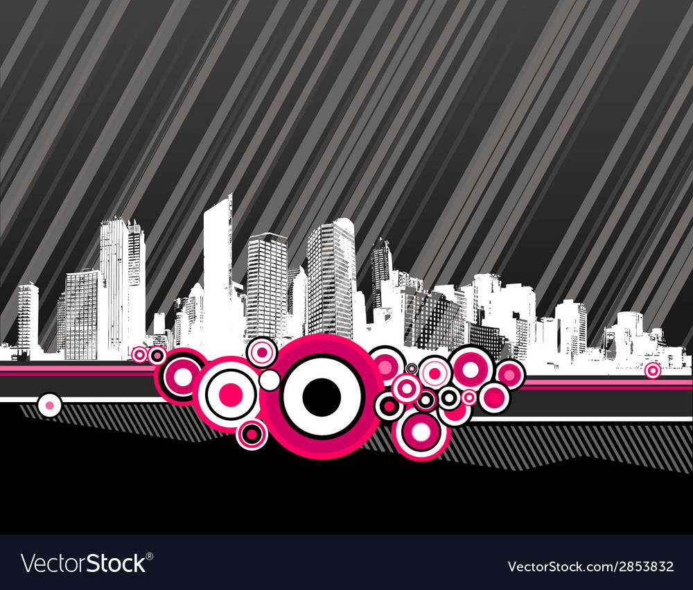 City with pink circles vector image