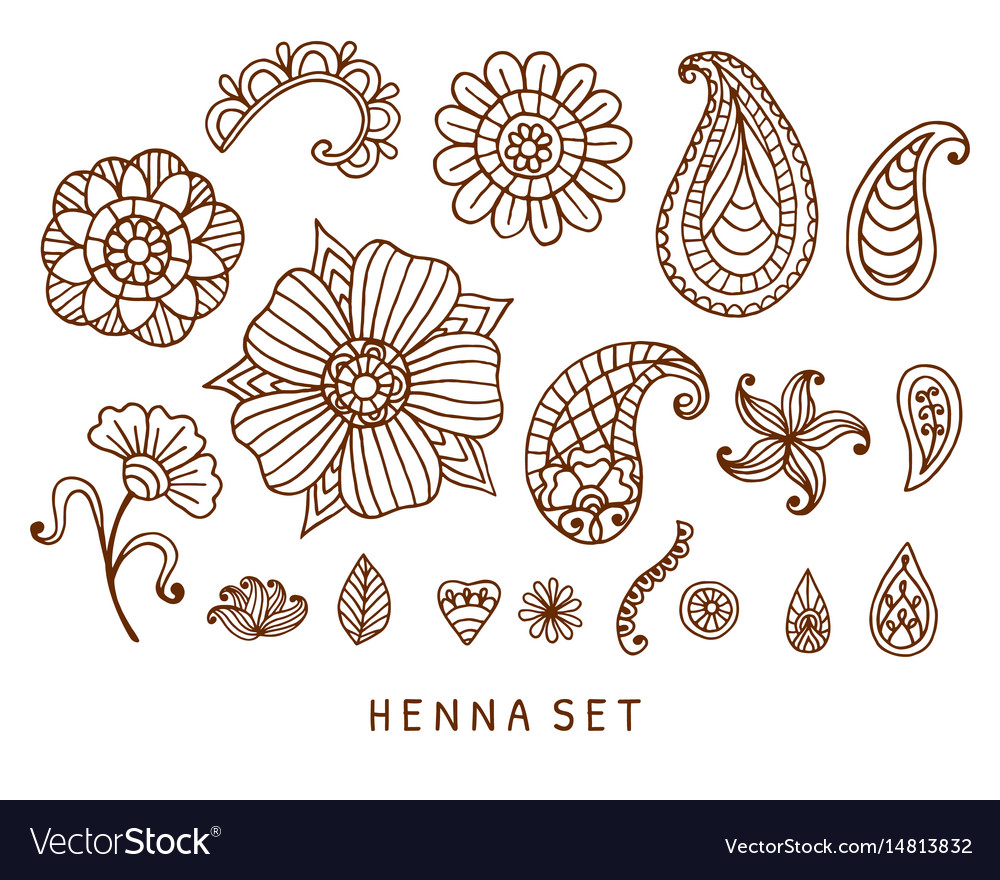 Henna tattoo doodles set vector image