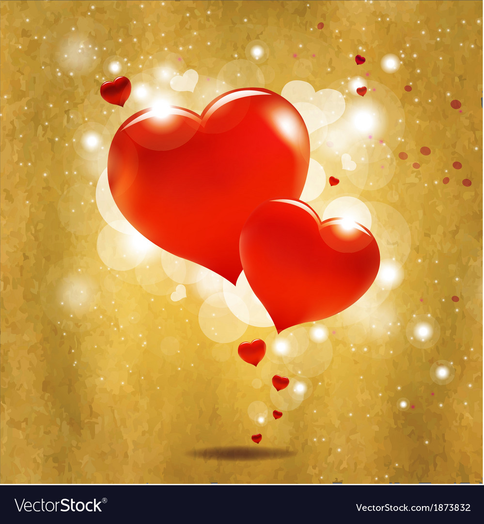 Old Vintage Valentines Day Card With Red Heart vector image