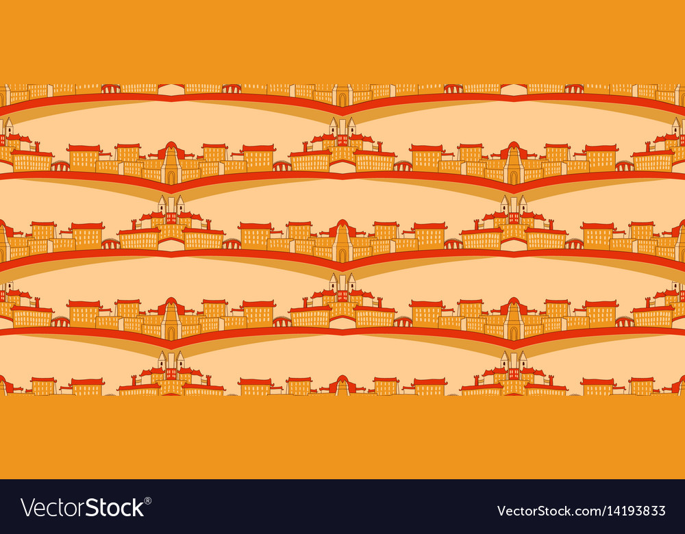 Seamless pattern with city silhouette vector image