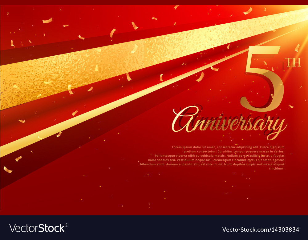 5th anniversary celebration card template vector image