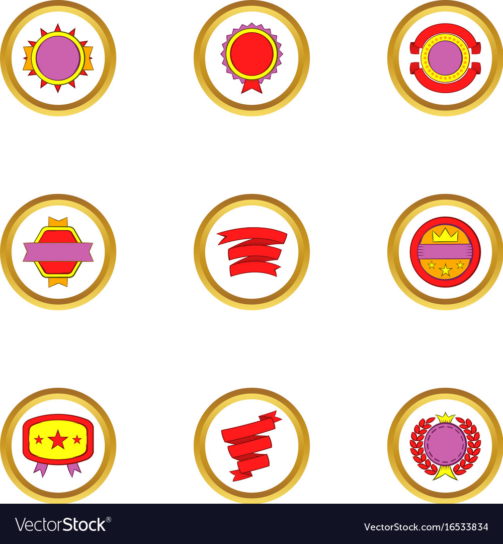Banners and ribbons icons set cartoon style vector image