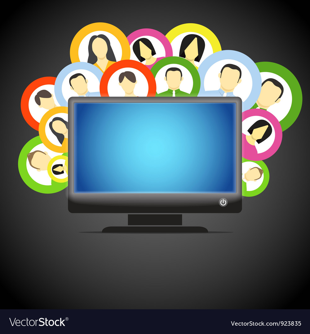 Monitor and social media members icons Vector Image