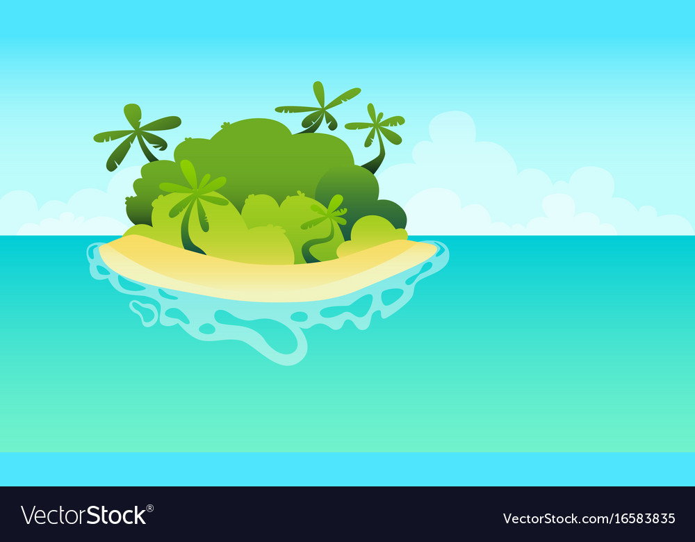 Island in the ocean with the beach vector image