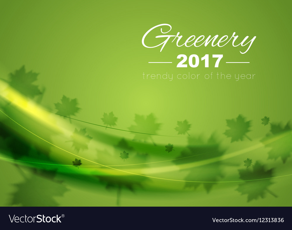 Color of the year 2017 Greenery waves background vector image