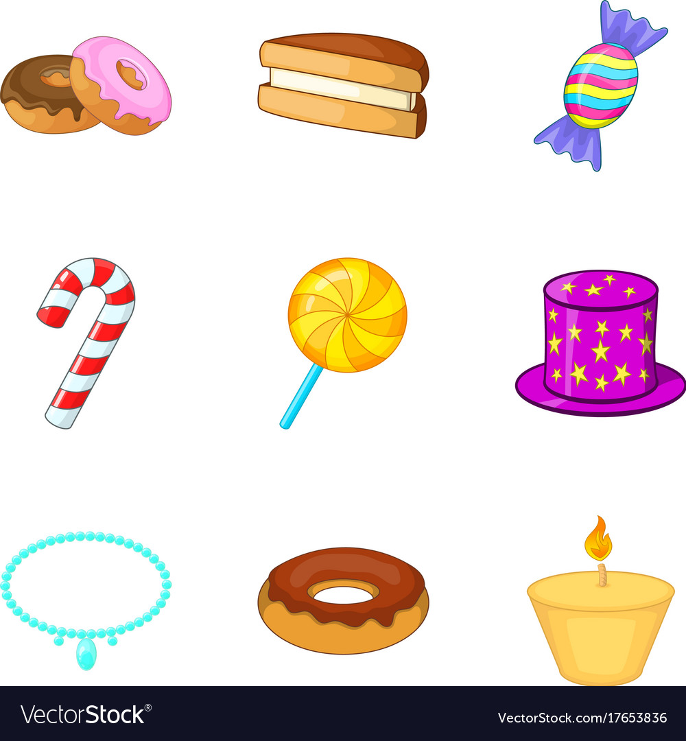 Food at the celebration icons set cartoon style vector image