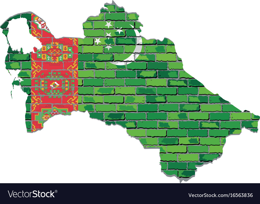 Turkmenistan map on a brick wall Royalty Free Vector Image
