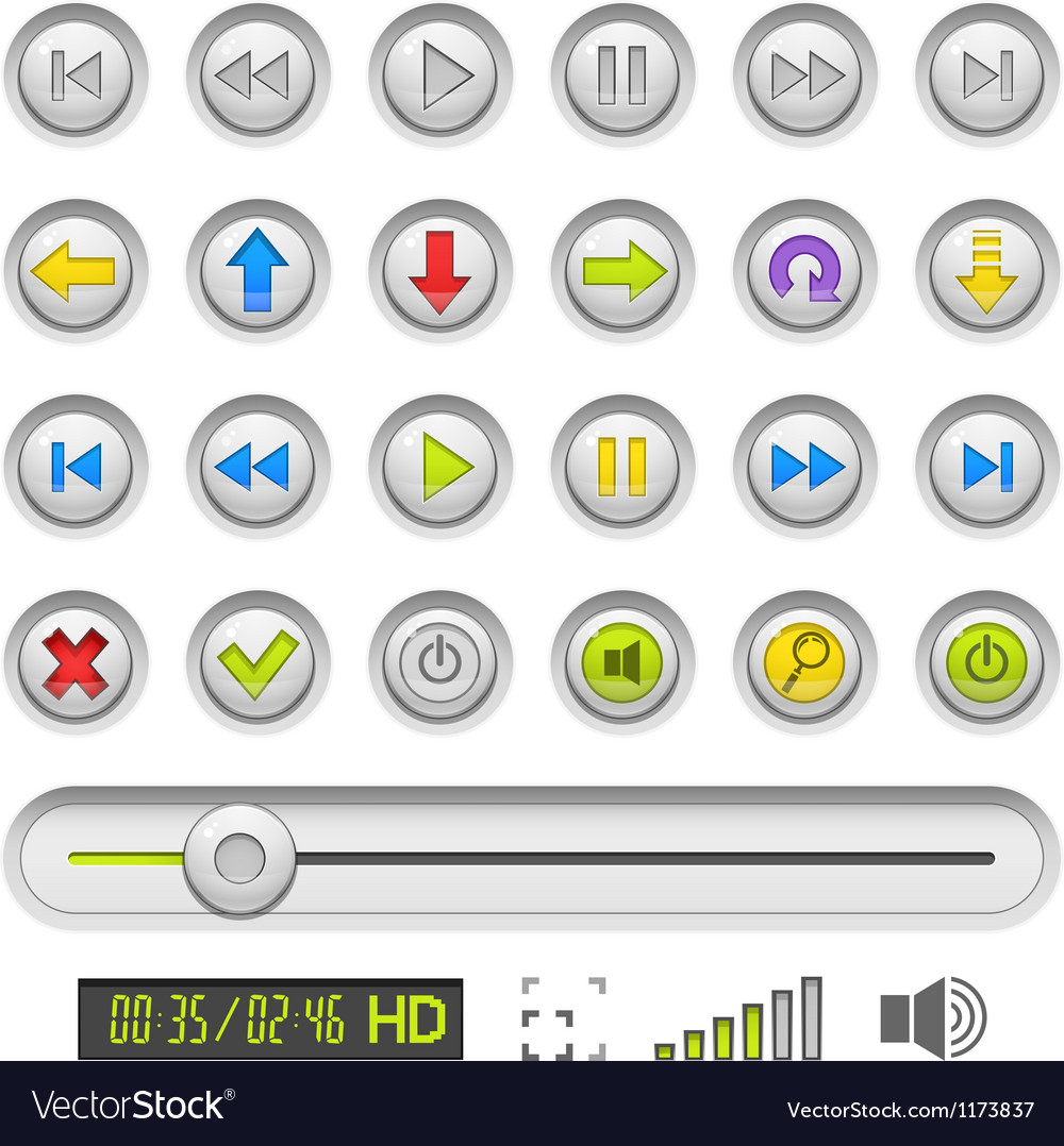 Set of buttons for media vector image