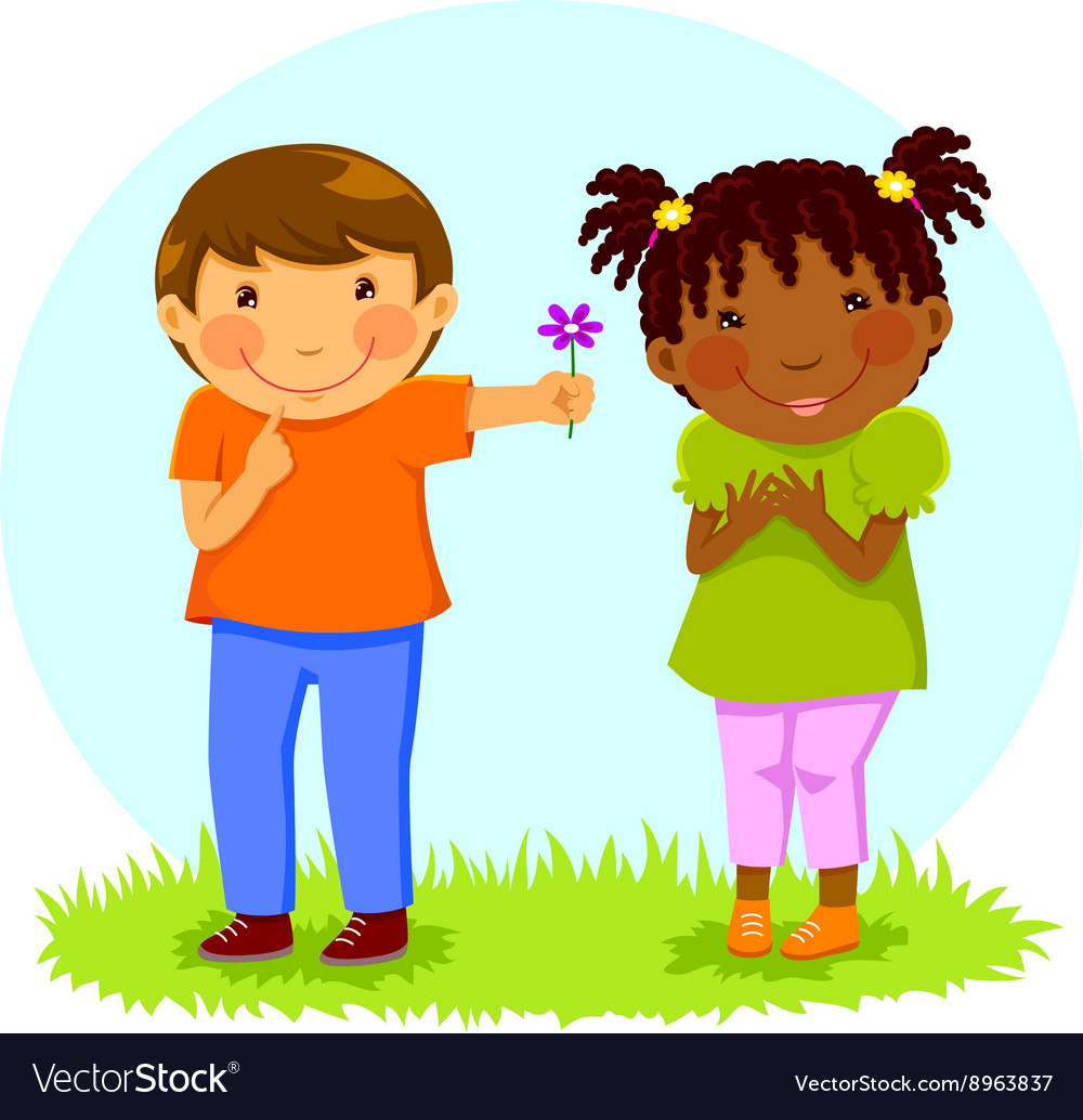Boy gives flower to girl vector image