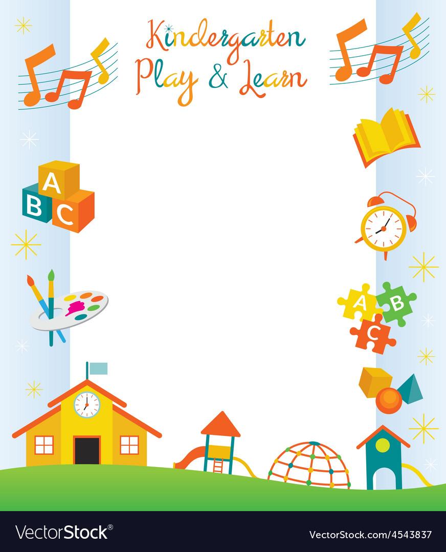 Kindergarten Preschool Kids Objects Frame vector image
