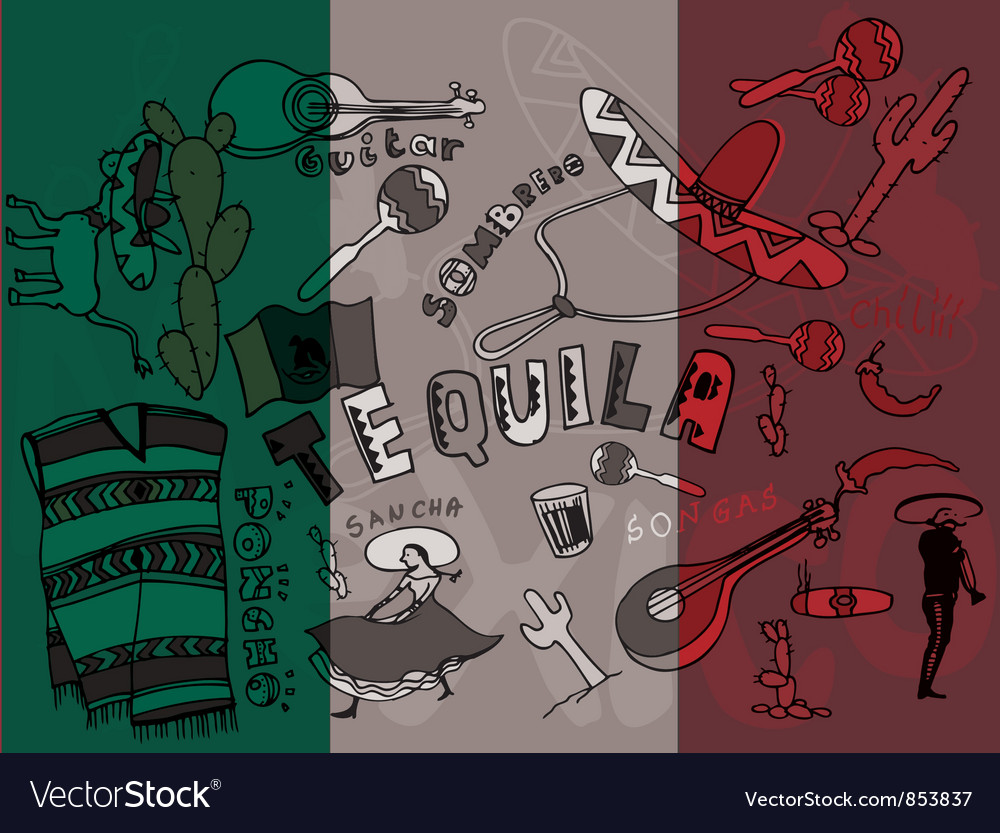 Mexico doodles with grunge background vector image