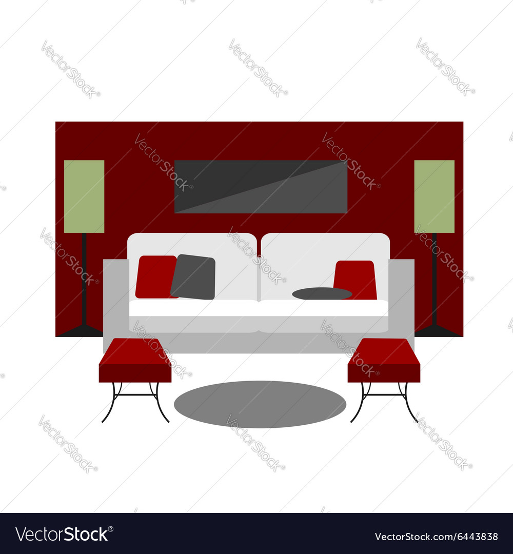Color Furniture Living Room Flat Icon Royalty Free Vector