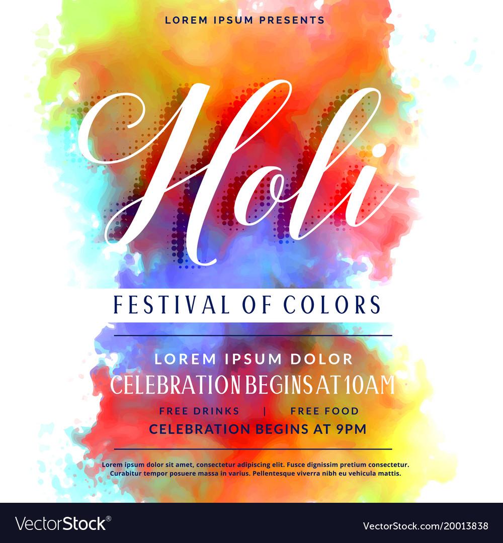 Happy holi celebration invitation background Vector Image