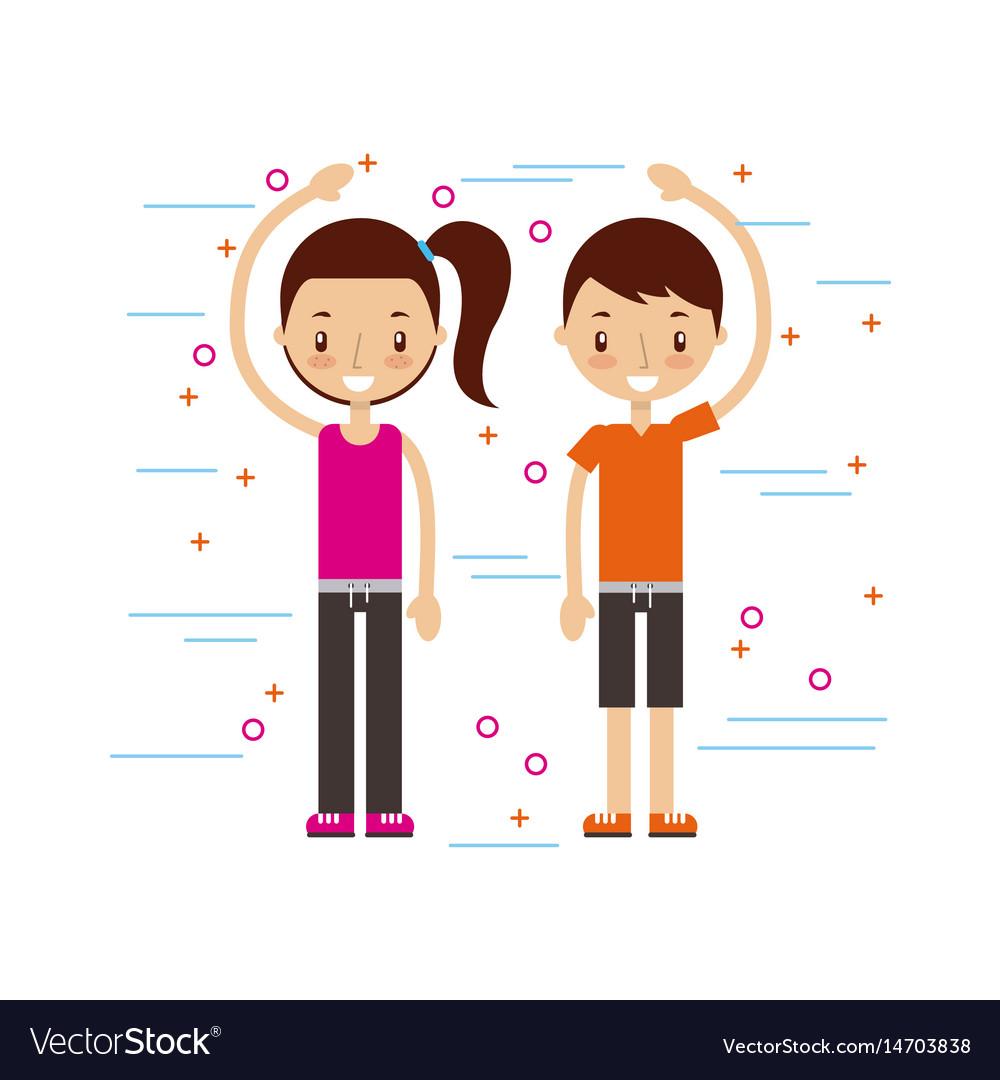 Happy man and woman in casual clothing waving hi vector image