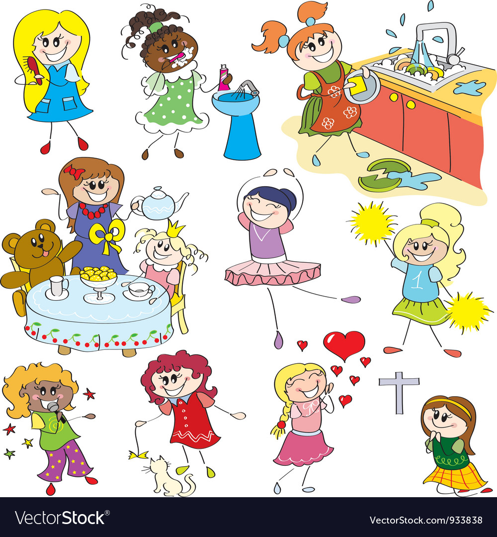 Sketches of girls vector image