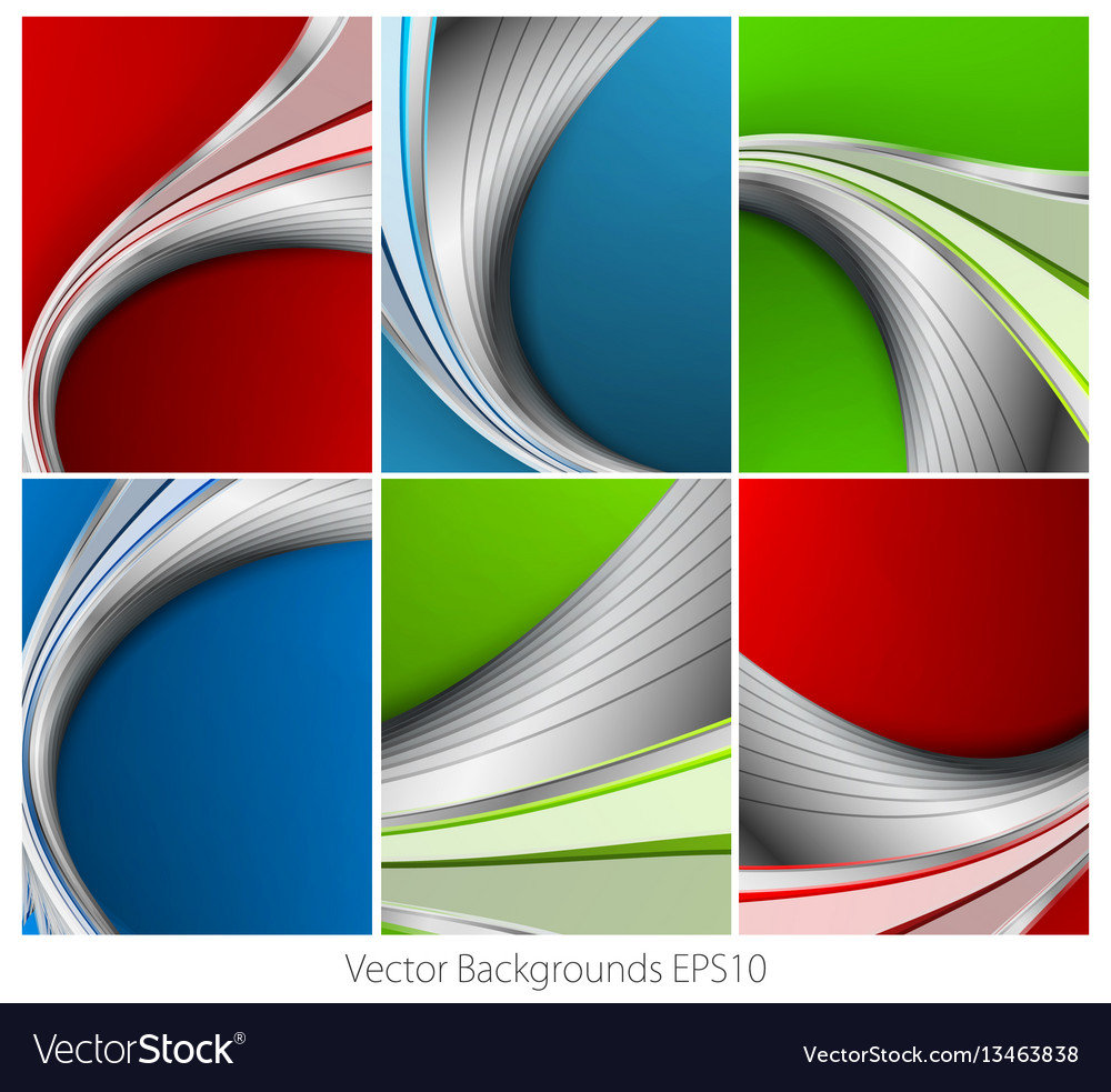 Wavy backgrounds set vector image