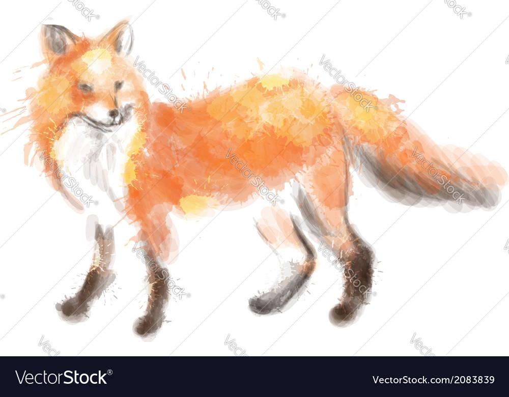 Fox watercolor vector image