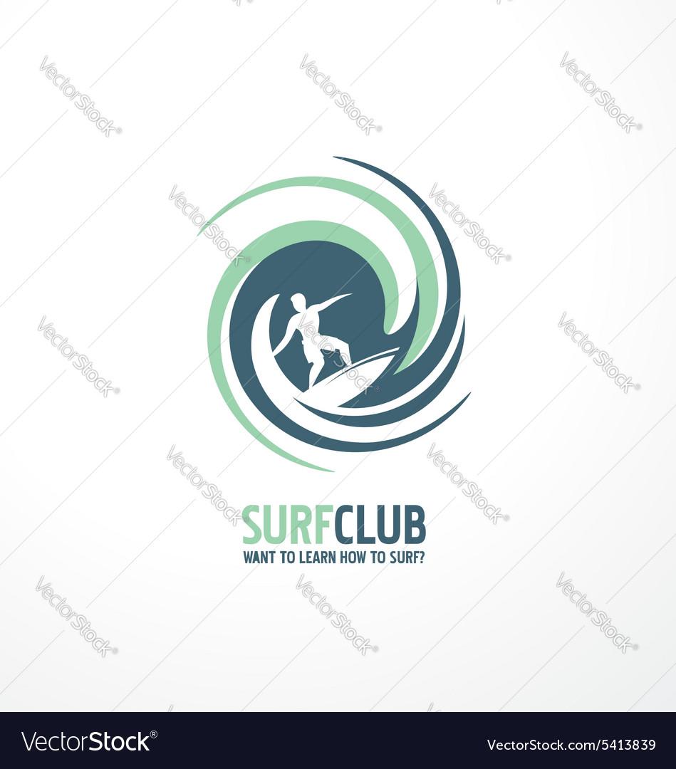 Surfing club logo design vector image