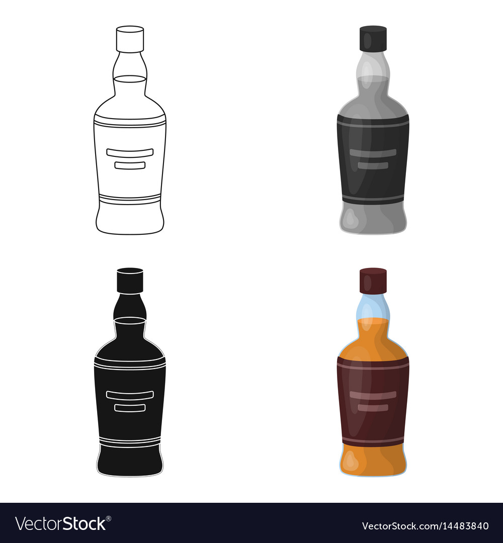 Bottle of scottish whiskey icon in cartoon style vector image