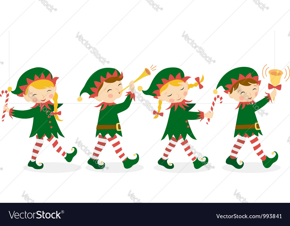 Christmas elves Royalty Free Vector Image - VectorStock