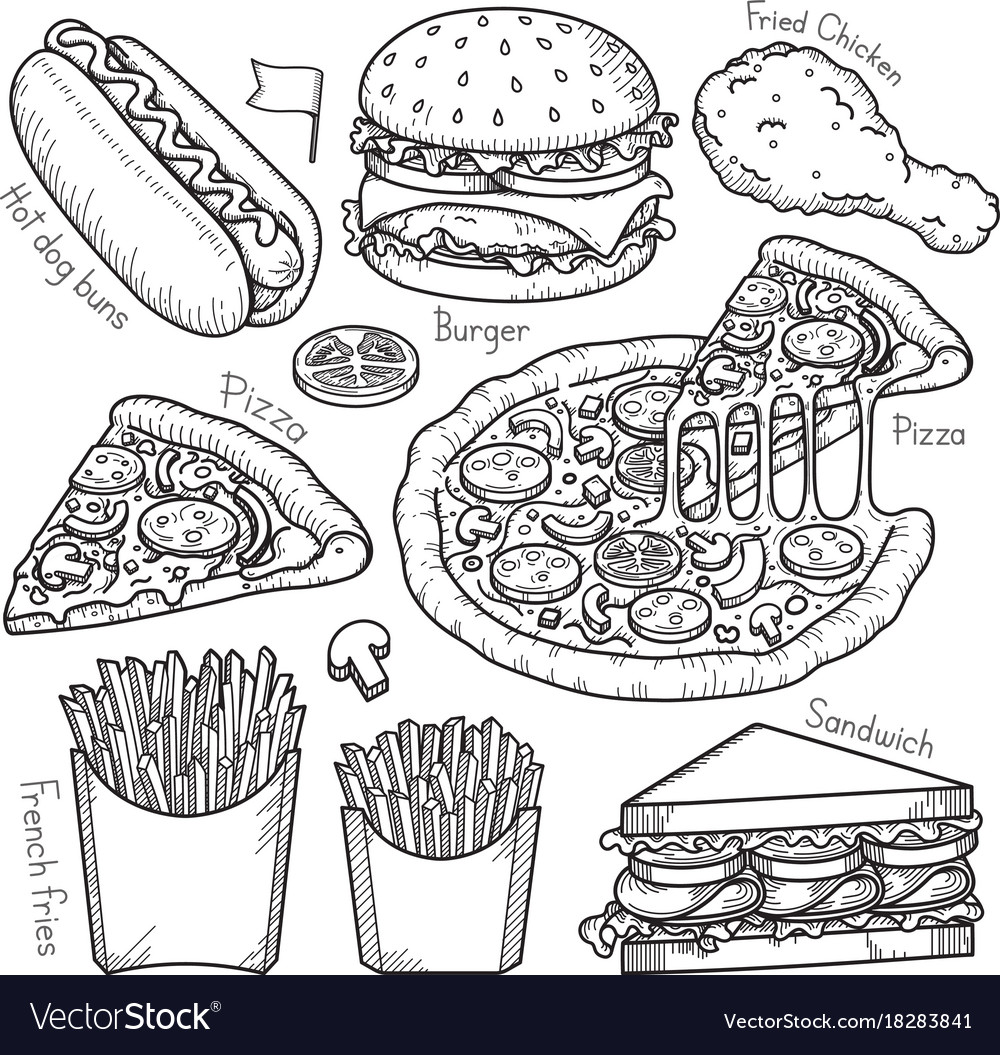 Fast food doodle elements hand drawn style vector image