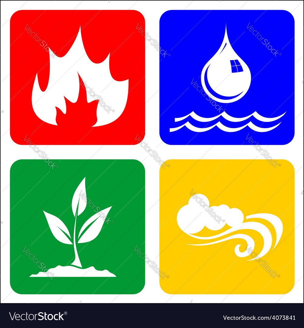 Icons for earth air fire and water royalty free vector image icons for earth air fire and water vector image biocorpaavc Choice Image