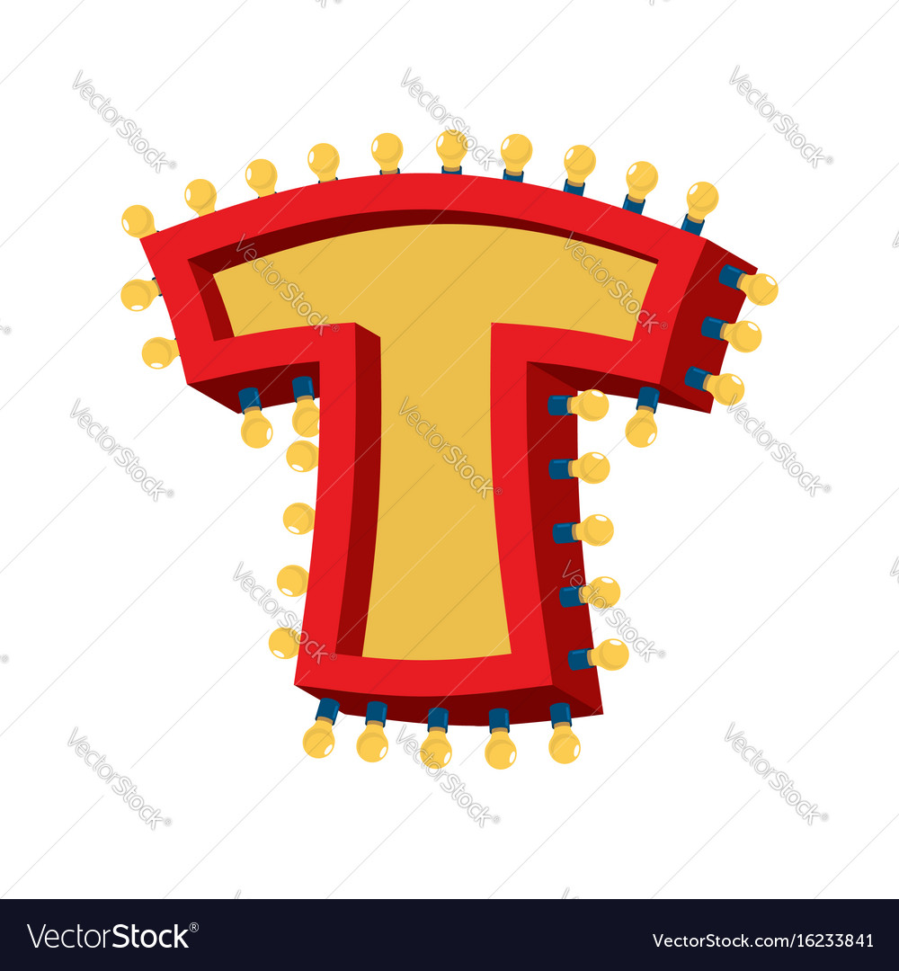 Letter t lamp glowing font vintage light bulb vector image