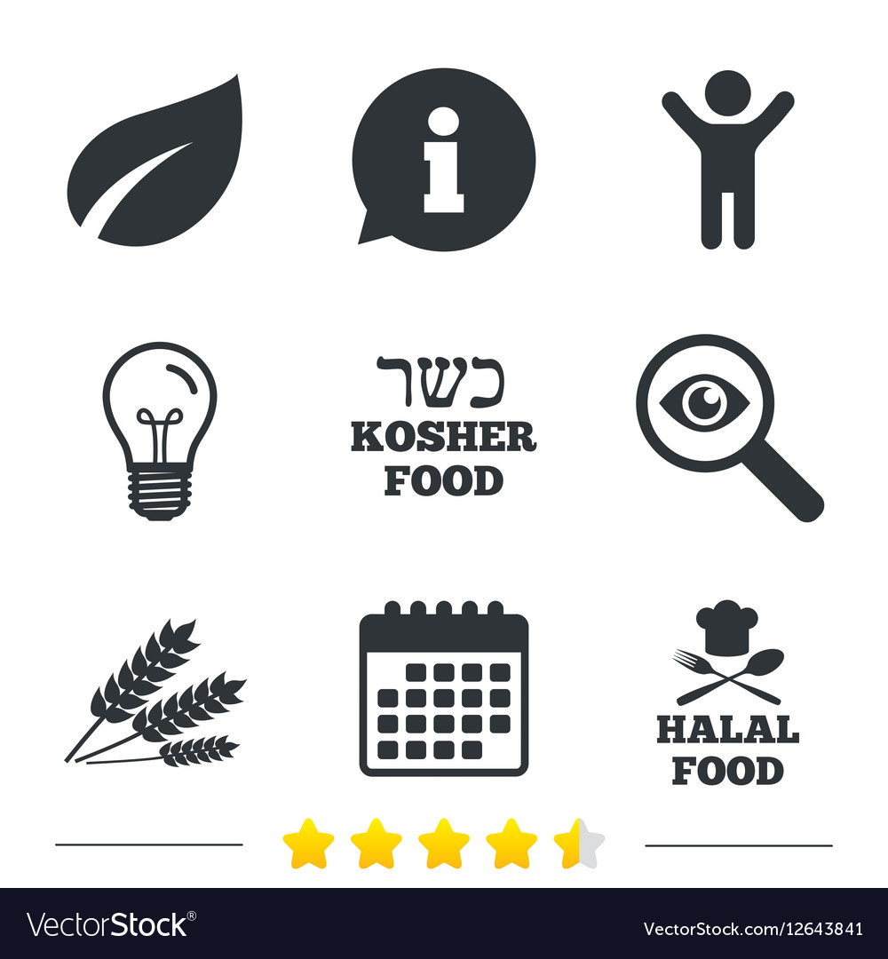 Natural food icons halal and kosher signs vector image natural food icons halal and kosher signs vector image buycottarizona