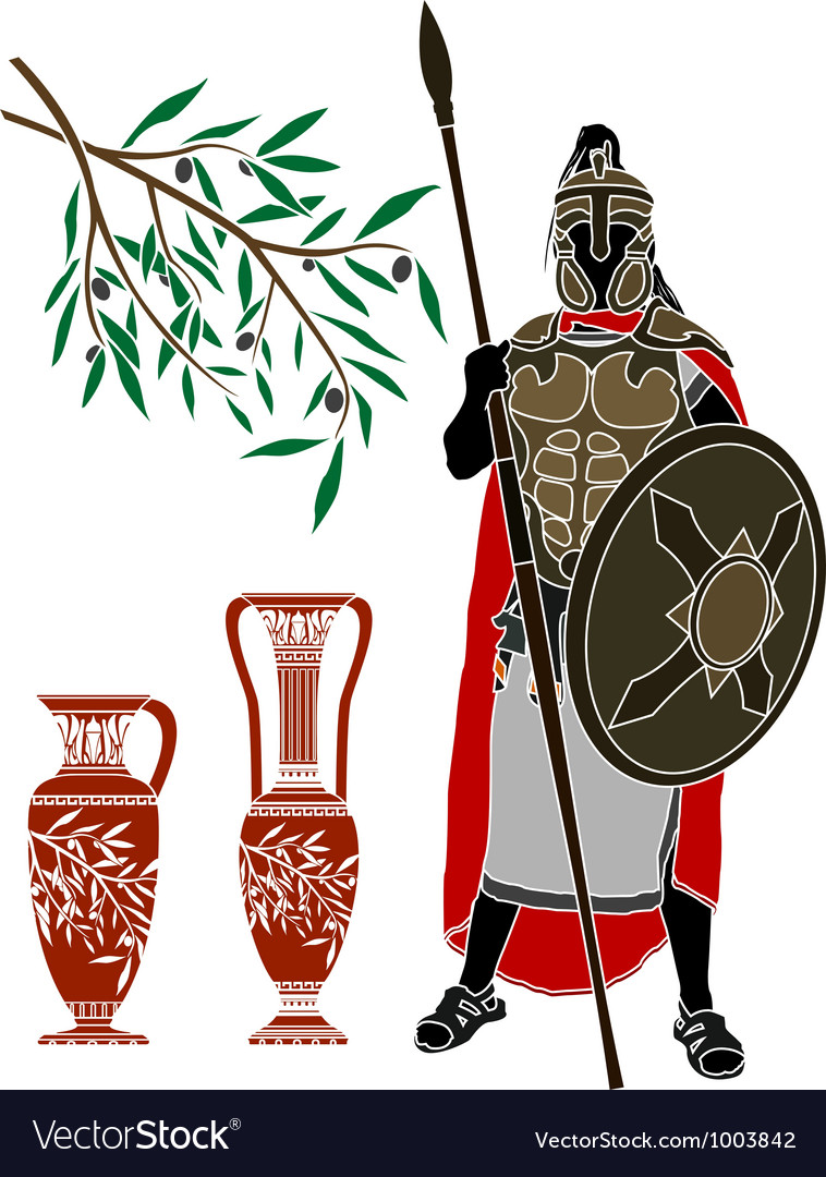 Ancient hellenic warrior and jugs Vector Image