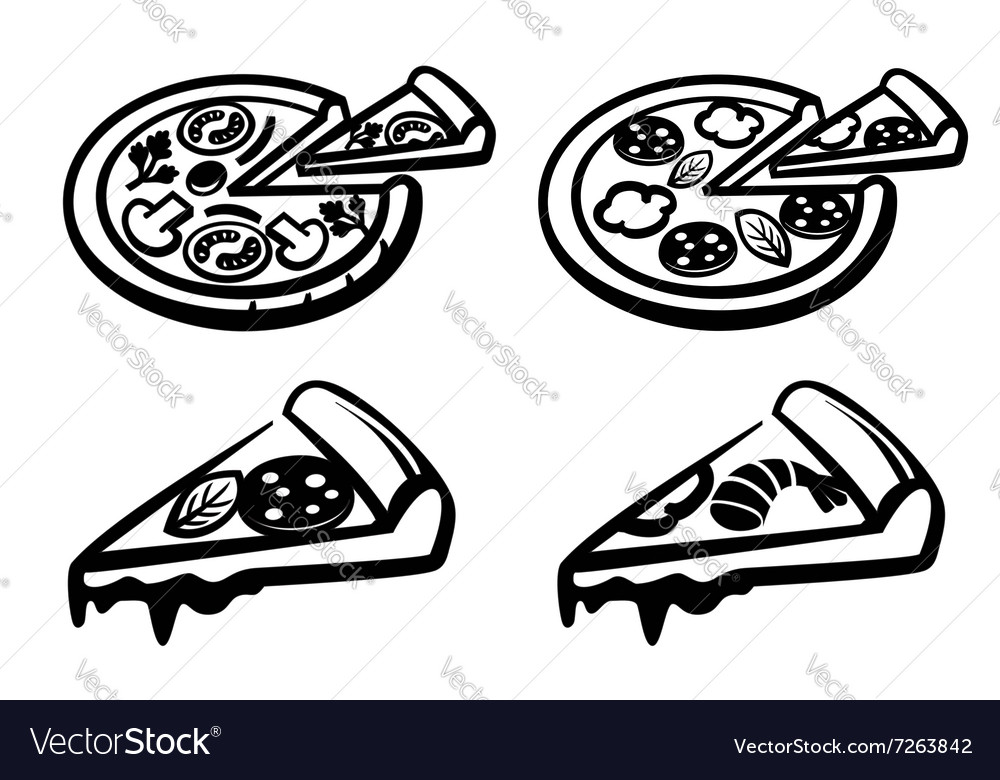 Black pizza vector image