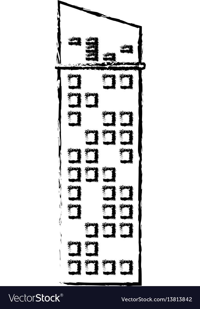 Building facade icon sketch vector image