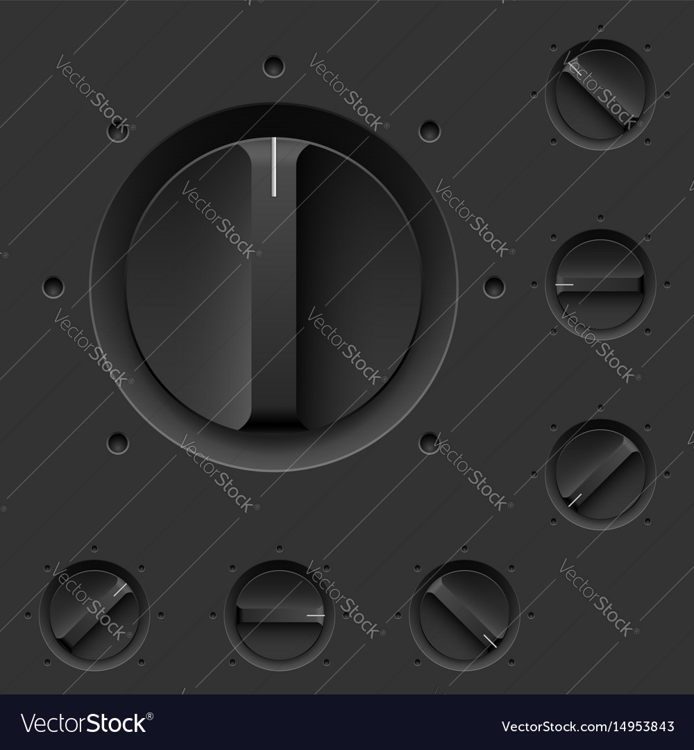 Black control panel with switches for design Vector Image