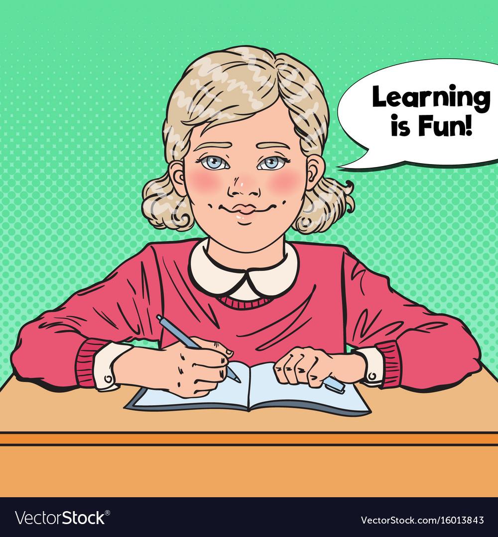 Pop art smiling schoolgirl sitting at school desk vector image