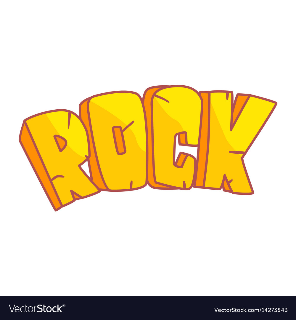 Word rock written in cartoon style colorful vector image