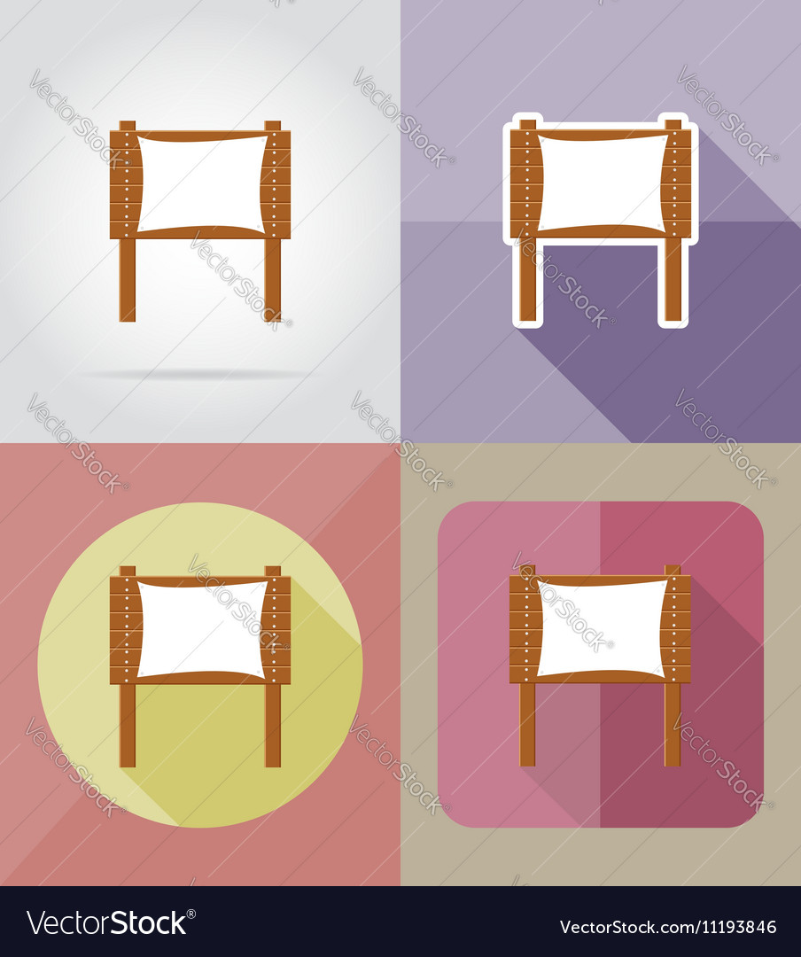 Wooden board flat icons 08 vector image
