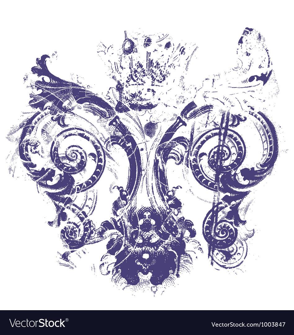 Distressed royal fleur de lys Vector Image