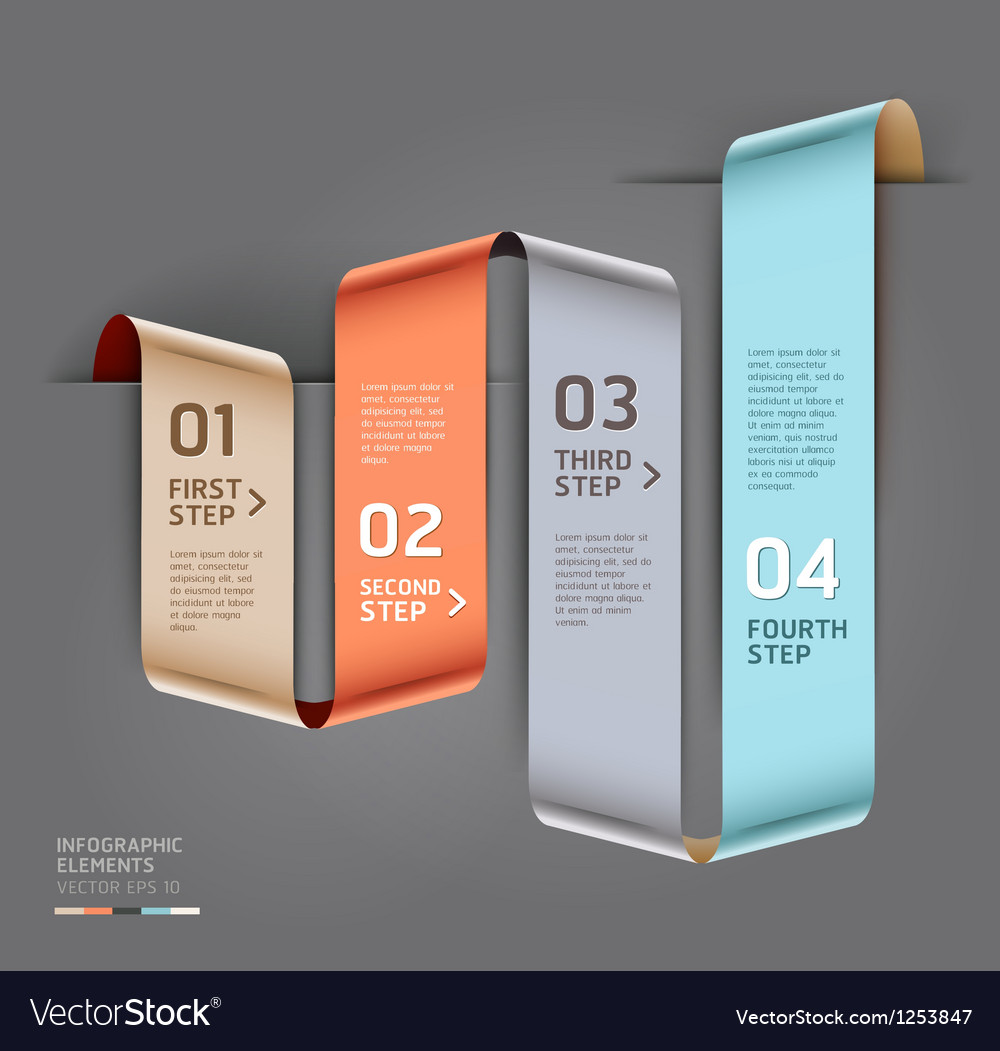 Abstract ribbon style infographics template vector image
